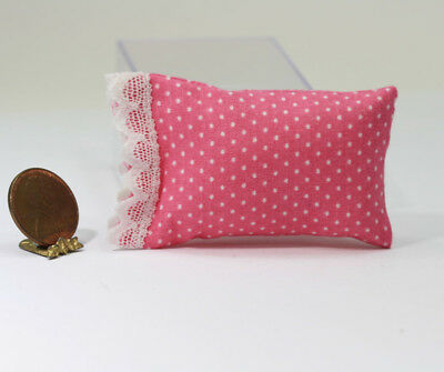 Dollhouse Miniature 1:12 Scale Artisan Pink Dot Pillow Trimmed in Lace