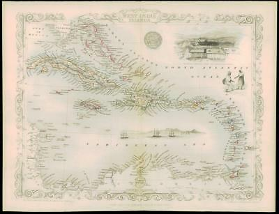 "1850 ""WEST INDIA ISLANDS"" Map by Tallis HAITI LEEWARDS CUBA CAYMAN TRINIDAD"