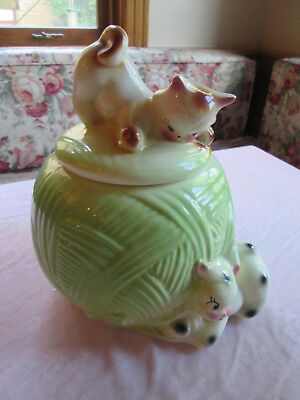 Vintage American Bisque Kittens on Ball of Yarn Cookie Jar USA lot SPB