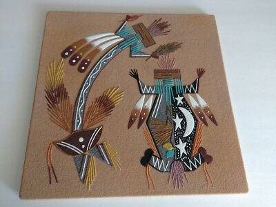 """NAVAJO Sand Painting by Marie Alice Rainbow God, Father Sky & Mother Earth 12"""""""
