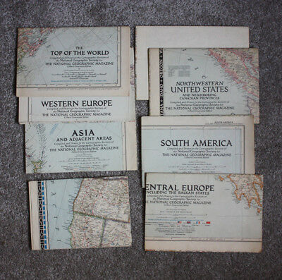 Lot of 8 Maps National Geographic Map Inserts 1949 to 1951