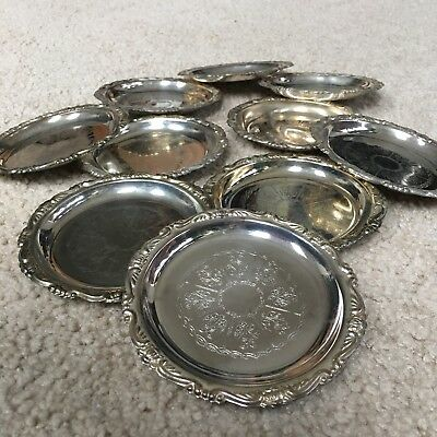 Set of 10 Vintage Italian Silver Plated Coasters - Made in Italy!!