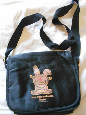 YOUR ANGER MAKES ME HAPPY Bunny Messenger Purse Black  Jim Benton nylon bag