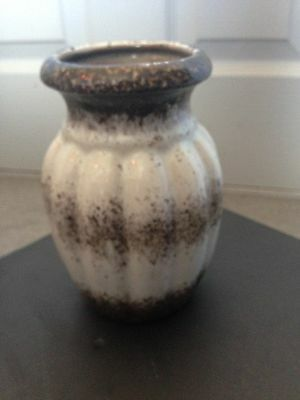 vintage german(?) pottery vase white and brown/grey finishing touch