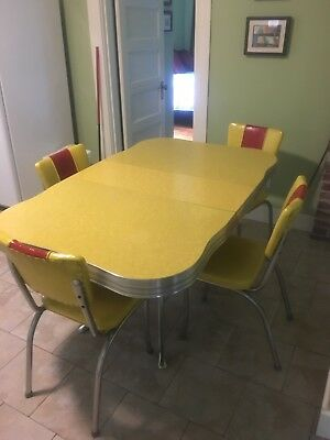 vintage chrome dinette table 4 chairs leaf vinyl yellow red