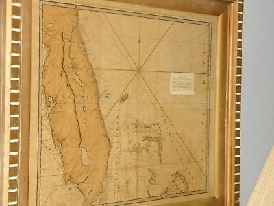 "Florida & Bahamas Antique Map Robert Sayer Print: ""Surveyed 1535/1775, Framed"