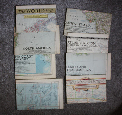 Lot of 8 Maps National Geographic Map Inserts 1951-1953