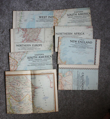Lot of 8 Maps National Geographic Map Inserts 1954-1956