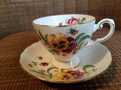 Tuscan England cup and saucer PANSY,  flowers bouquet, gold rim, numbered