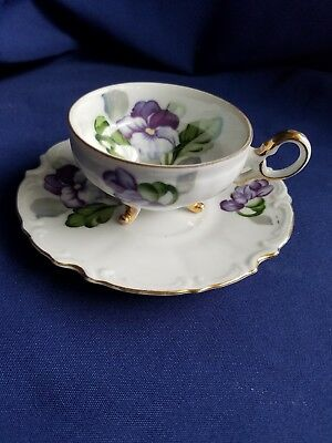 Vintage Ucagco China Japan Footed Cup & Saucer Violets Purple Flowers