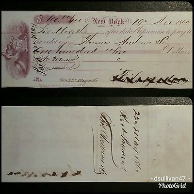 New York  $100. Promissory Note, dated Nov. 19,1860 Hope Vignette
