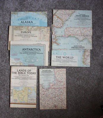 Lot of 8 Maps National Geographic Map Inserts 1956 to 1958
