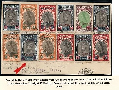 Ethiopia:1931 Sc 217-230 Complete set used on card with double color ovpt proof.