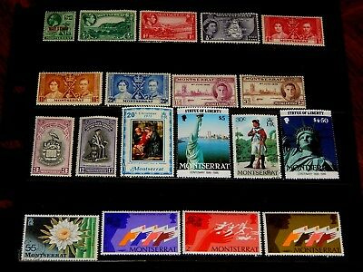 Montserrat stamps for sale - 19 mint hinged and used early stamps - super !!