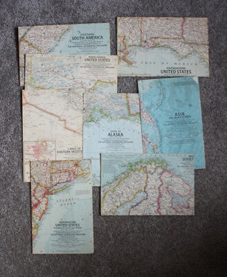 Lot of 8 Maps National Geographic Map Inserts 1958-1959