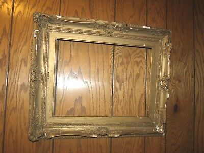 "Large Antique Gold gesso on wood carved ornate frame 22"" X 18""  19th century"