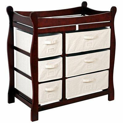 Badger Basket Cherry Sleigh Style Changing Table with 6 Baskets