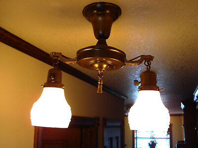 Antique Brass And Double Globe Hanging Ceiling Light Lamp– Excellent Condition