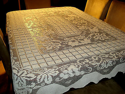 "Large Antique Elaborate Off White Handmade Filet Lace Tablecloth 63"" X 78"""