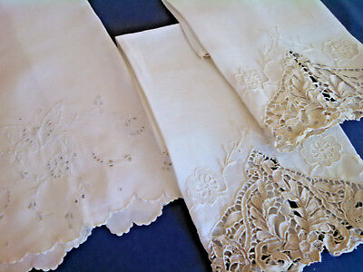 3 Vintage Linen Towels / Needle Lace / Madeira Butterfly