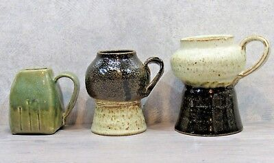 Lot of 3 AH SIGNED STUDIO ART POTTERY PIECES - 2 Mugs & Creamer, Green & Brown