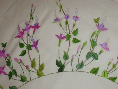 Vintage Embroidered Linen Tablecloth, Fuschia
