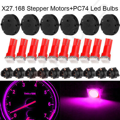 6 x27.168 Stepper Motor Speedometer kit+Instrument PC74 hole bulbs Pink For GM