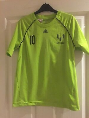 Boys Adidas Climacool Messi T-shirt Green Age 11-12 Excellent Condition