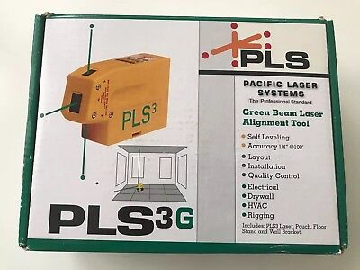 Pacific Laser Systems PLS 3- Point Green Beam Laser Level PLS-60595 *NEW*