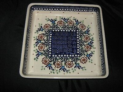 Boleslawiec Polish Pottery Square Bake - Floral Brown and Blue - New