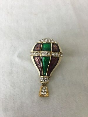 Gold Tone Hot Air Balloon Pin Brooch Purple Green Shiny 3D Rhinestones Dangle