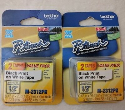 "NEW -TWO twin Packs for BROTHER P-touch M2312PK 1/2"" black print on white tape"