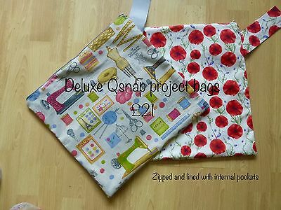 """Deluxe Q Snap/RnR Frame Project Bag 8x8"""" Zip Pockets Lining Fabric Choices"""
