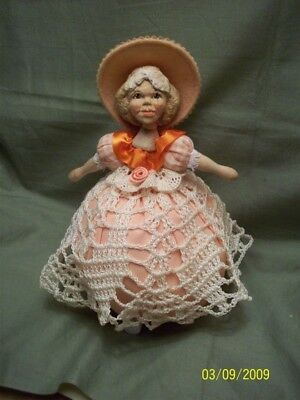 Artist Created Handcarved Wooden Pincushion Doll By Hitty Artist