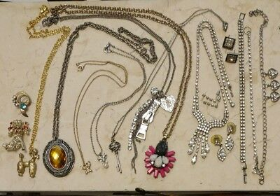 Vintage Antique Rhinestone Jewelry Lot Necklaces Earrings Bracelets Brooches