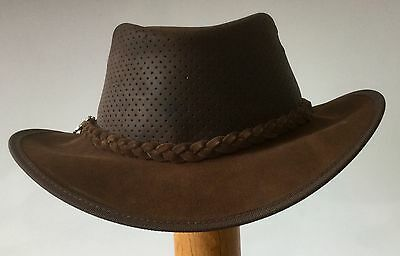 Jacaru leather hat suede perforated crown sport golf fishing hiking 63/64 cm XXL