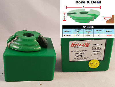 """C2090 Grizzly Shaper Cutter - Cove and Bead, 3/4"""" Bore"""
