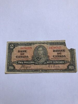 1937 $2  TWO Bank of Canada Coyne-Towers  DR4701525 Discounted