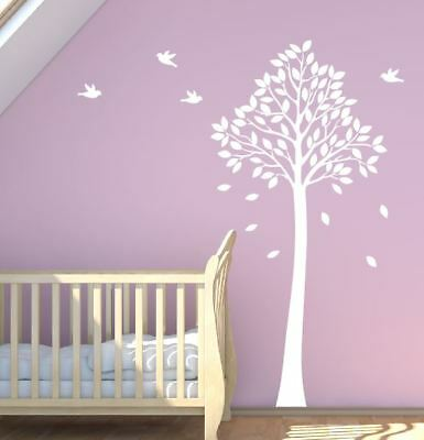 Tall Tree Wall Sticker With Birds Cot Baby Nursery 140cm Removable Stickers