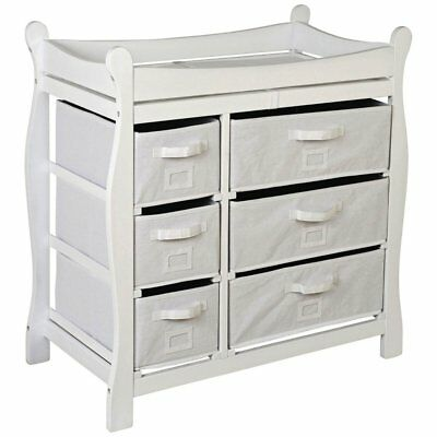 Badger Basket White Sleigh Style Changing Table with 6 Baskets