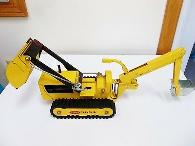 Vintage 1960s Pressed Steel Tonka Trencher Bulldozer Backhoe Toy