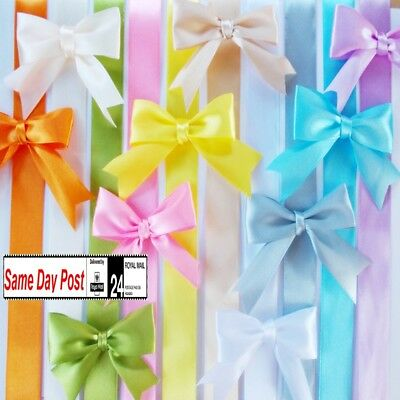 decorative bows x6 x12 x18pcs  8cm wide satin 25mm self-adhesive gift wrapping