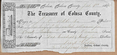1865 check from Treasurer of Colusa County Steamship/Steamboat motif