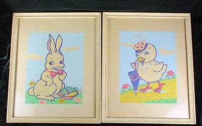 2 Glow in the Dark Magic Picture Chick Bunny Rabbit 1943 Vntg Infants Specialty