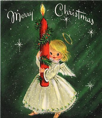 Hallmark Pretty Woman Girl Lady Candle Star Snow VTG Christmas Greeting Card