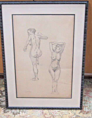 Vintage Frank Frazetta Nudes Original Drawing With COA From Grandaughter 1953