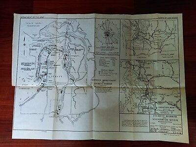 1949 Map of Everett Harbor Snohomish River WA I Reservation Whidbey Island