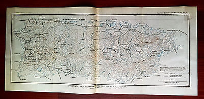 Early 1900's USGS Drainage and Hypsometric Survey Map of Puerto Rico H. Wilson