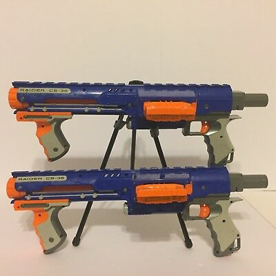 2 Nerf N-Strike Raider Rapid Fire CS-35 Dart Blasters includes Clips Bullets