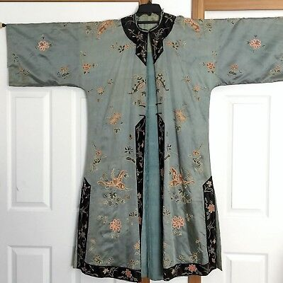 19th C. Qing Dynasty Antique Chinese Hand Embroidered Silk Robe Forbidden stitch